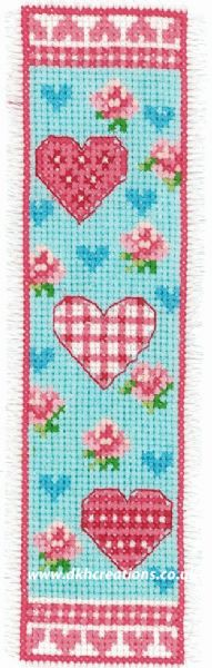 Hearts and Flowers Bookmark Cross Stitch Kit